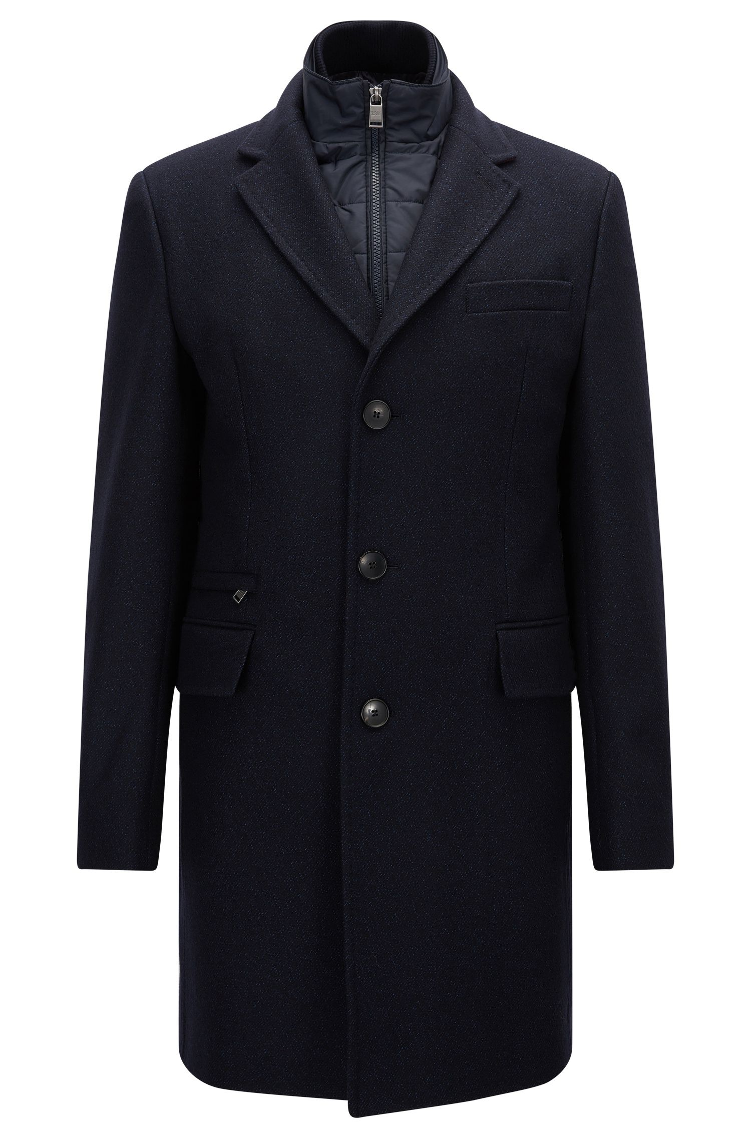 Slim-fit coat in a wool blend