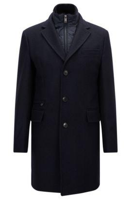 Manteau Slim Fit en laine mélangée, Bleu foncé