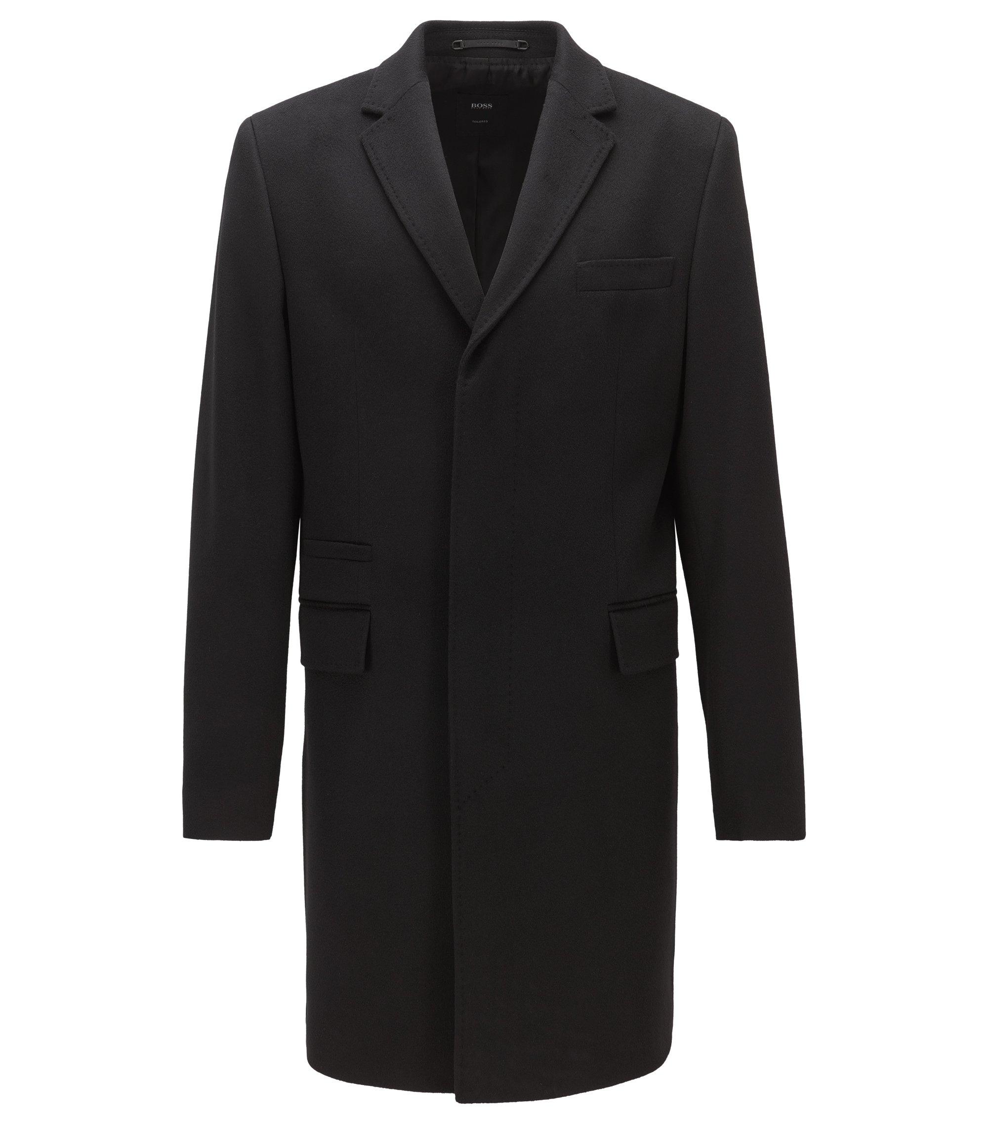 Cashmere coat in a regular fit, Black