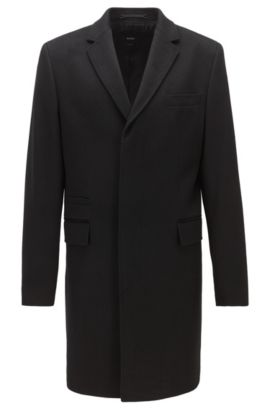 Cappotto regular fit in cashmere, Nero