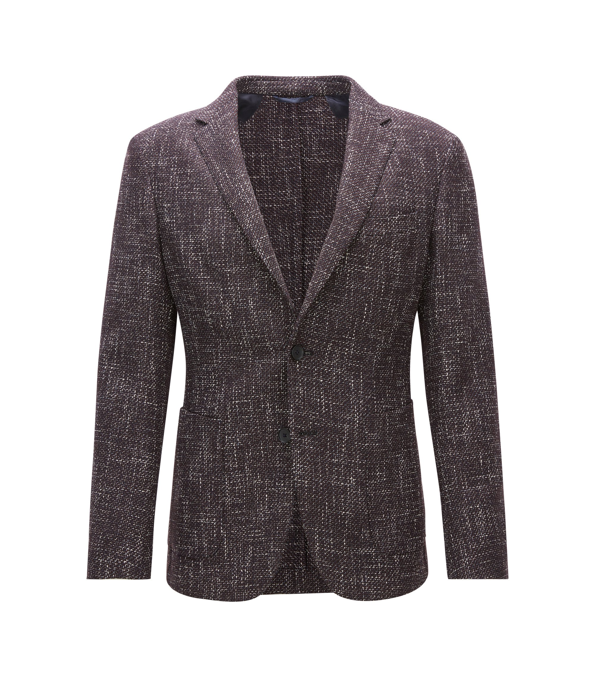 Slim-fit jacket in a mélange wool blend, Dark Red