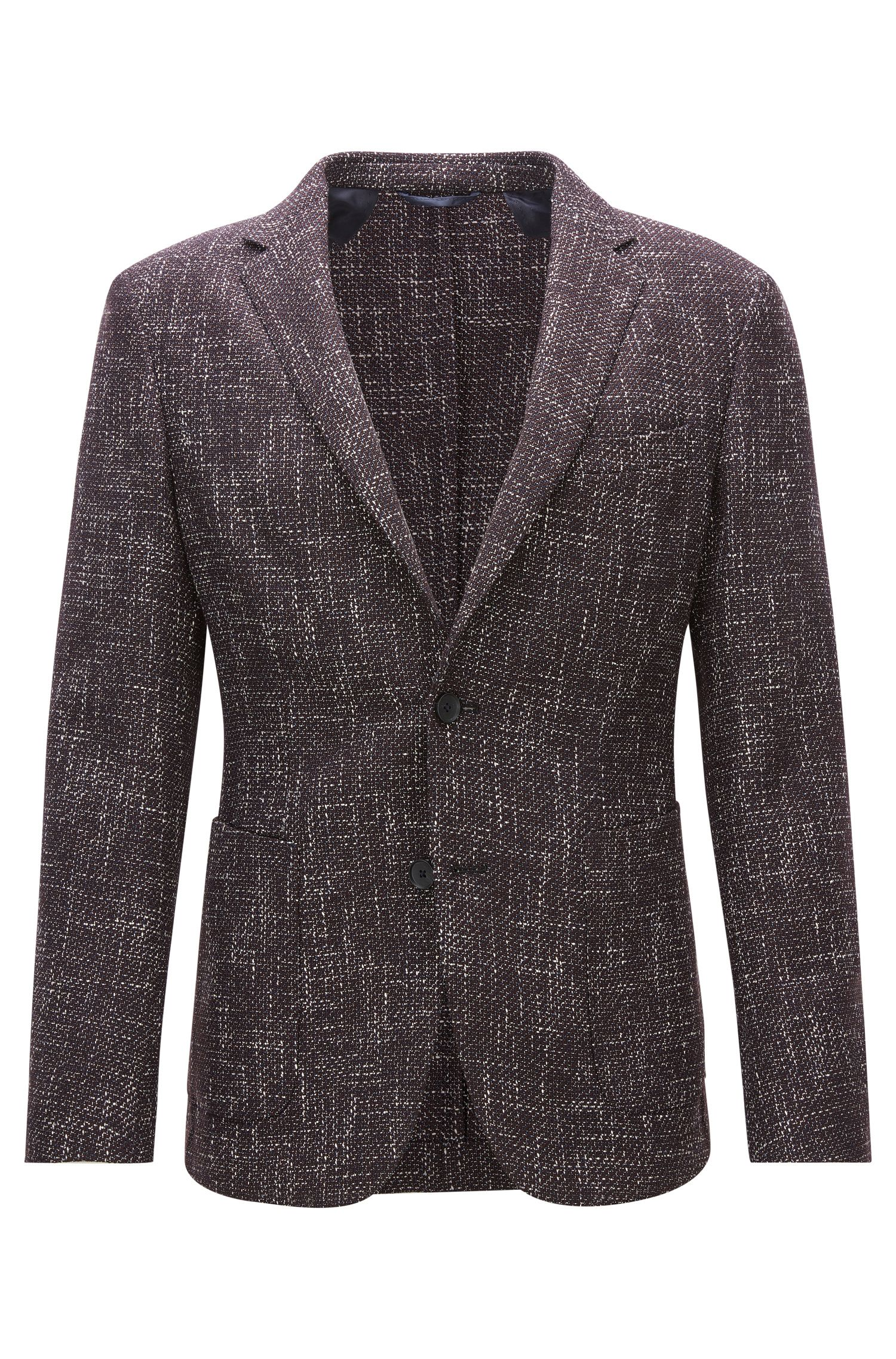 Slim-fit jacket in a mélange wool blend