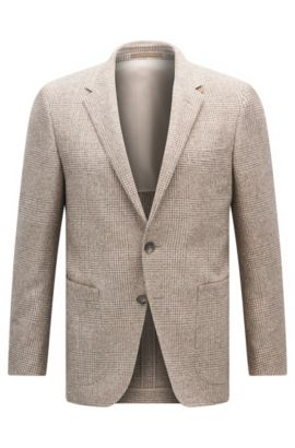 Slim-fit checked jacket with Alcantara trims, Beige