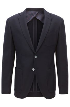Extra-slim-fit jacket in textured stretch fabric, Dark Blue