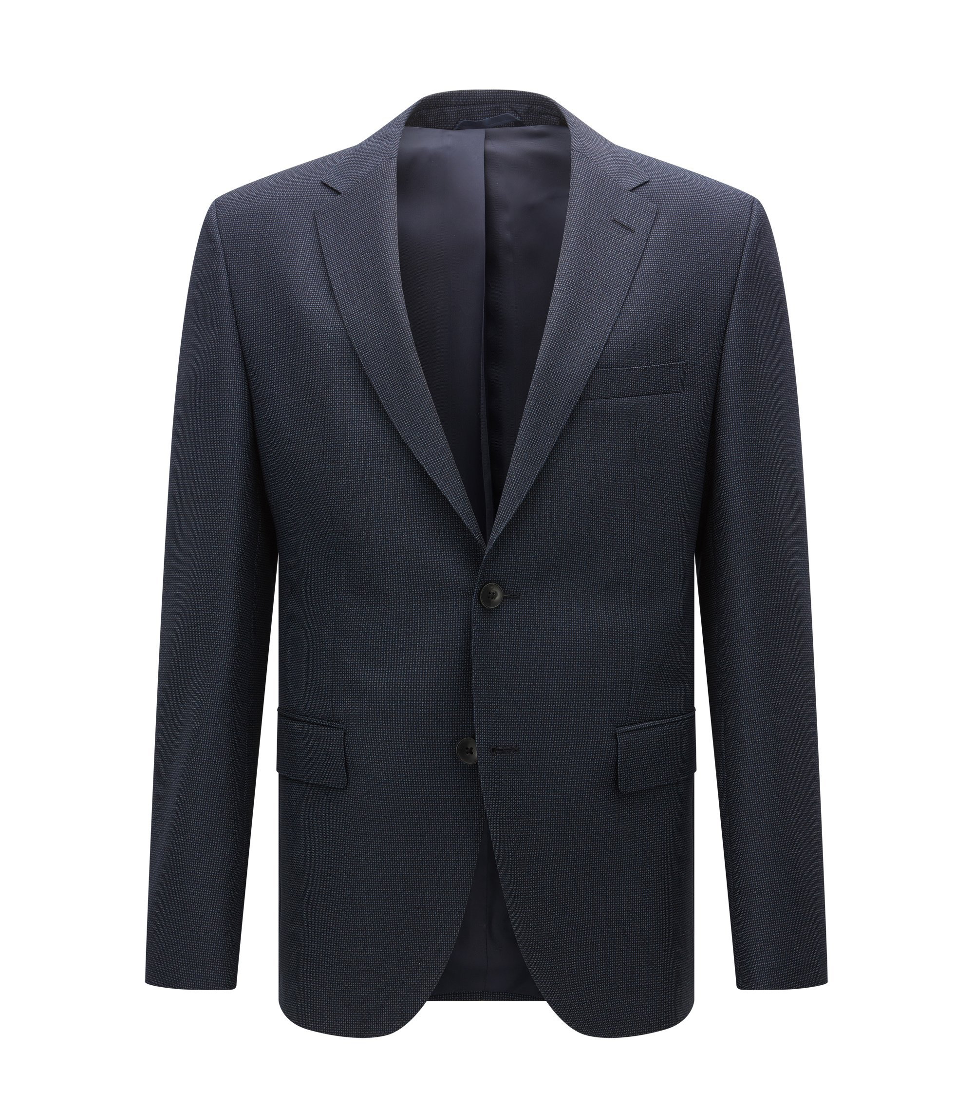 Veste Regular Fit en laine vierge à motif, Bleu foncé