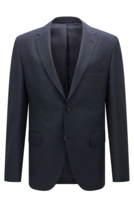 Regular-fit jacket in patterned virgin wool, Dark Blue