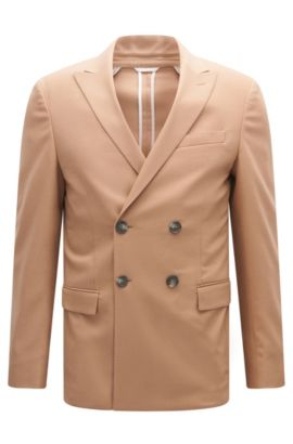 Doppiopetto slim fit in misto lana., Beige