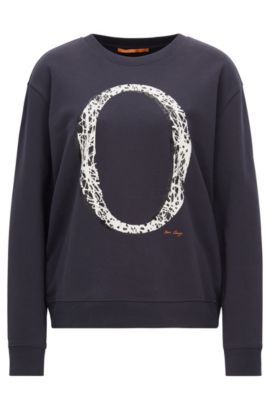 "Cotton terry sweater with ""O"" graphic, Dark Blue"