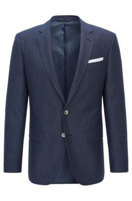 Slim-fit jacket in virgin wool twill, Dark Blue