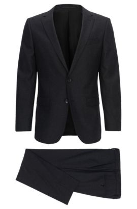 Slim-fit suit in a stretch wool blend, Donkergrijs
