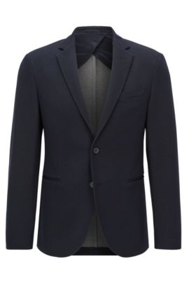 Giacca slim fit in jersey, Blu scuro
