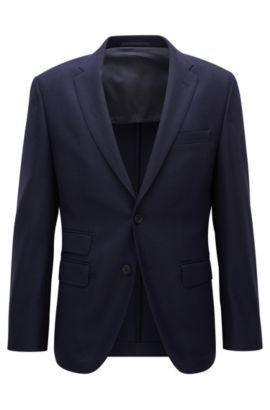 Regular-fit travel jacket in stretch virgin wool, Dark Blue