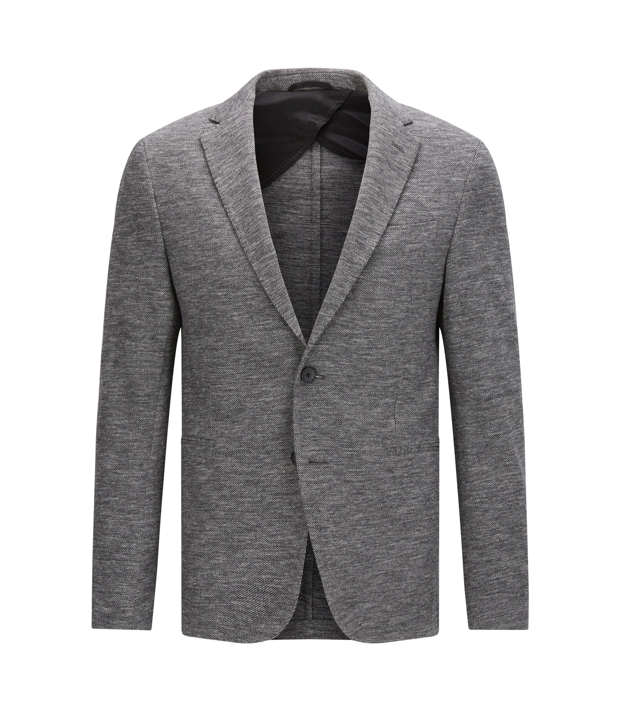 Slim-fit jacket in stretch tailoring jersey, Dark Grey