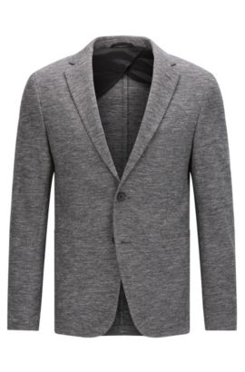 Veste Slim Fit en jersey couture stretch, Gris sombre