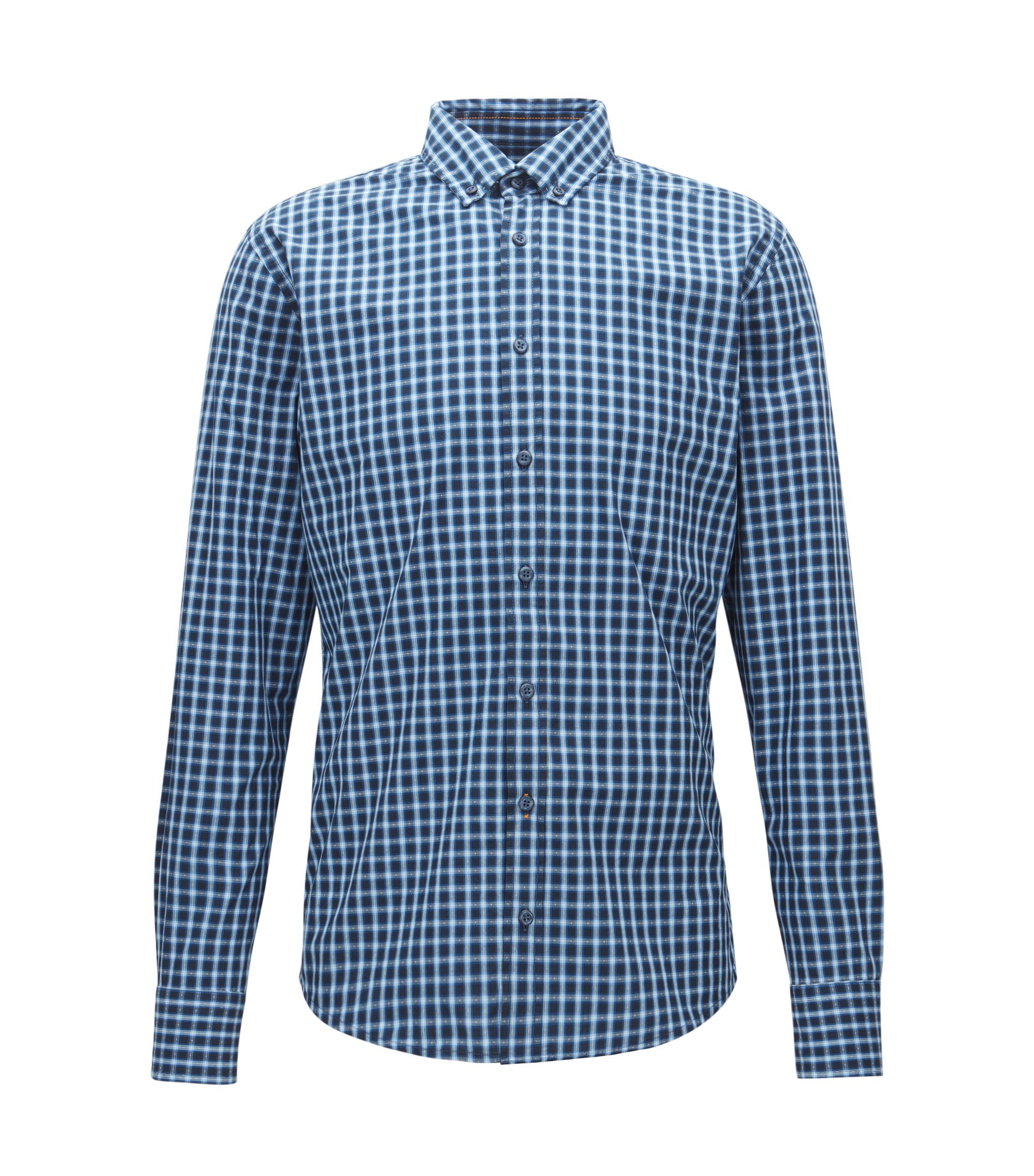 Slim-fit checked shirt in end-on-end cotton, Blue