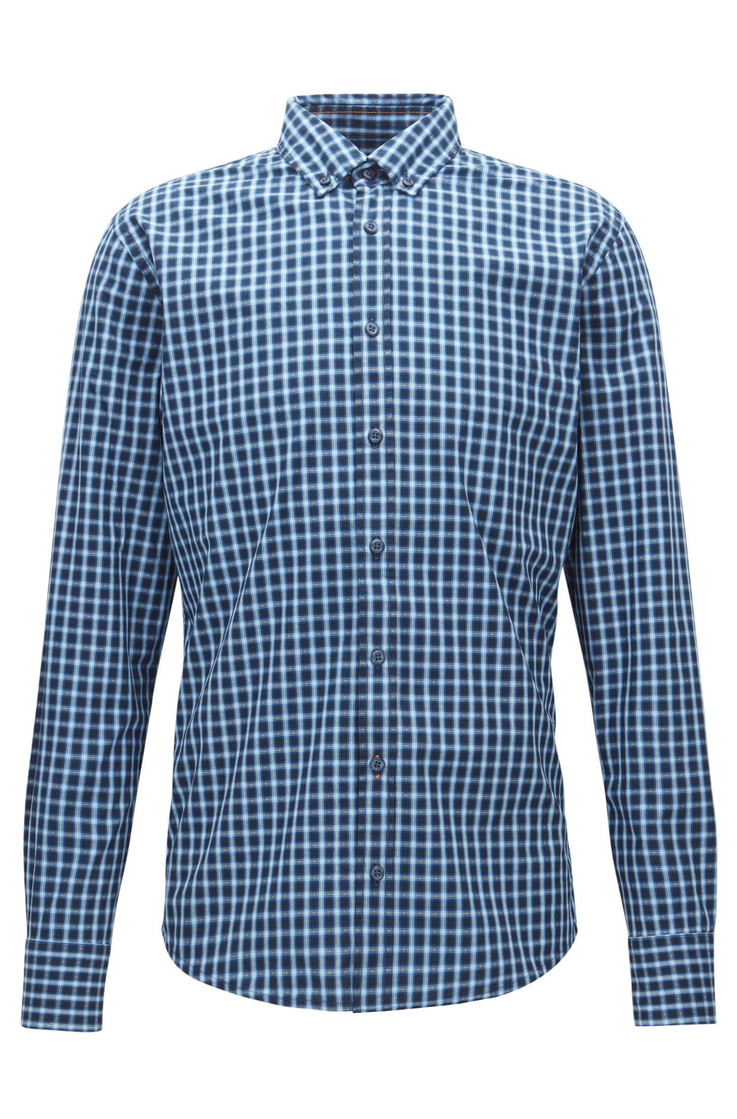 Slim-fit overhemd van geruite fil-à-fil-katoen