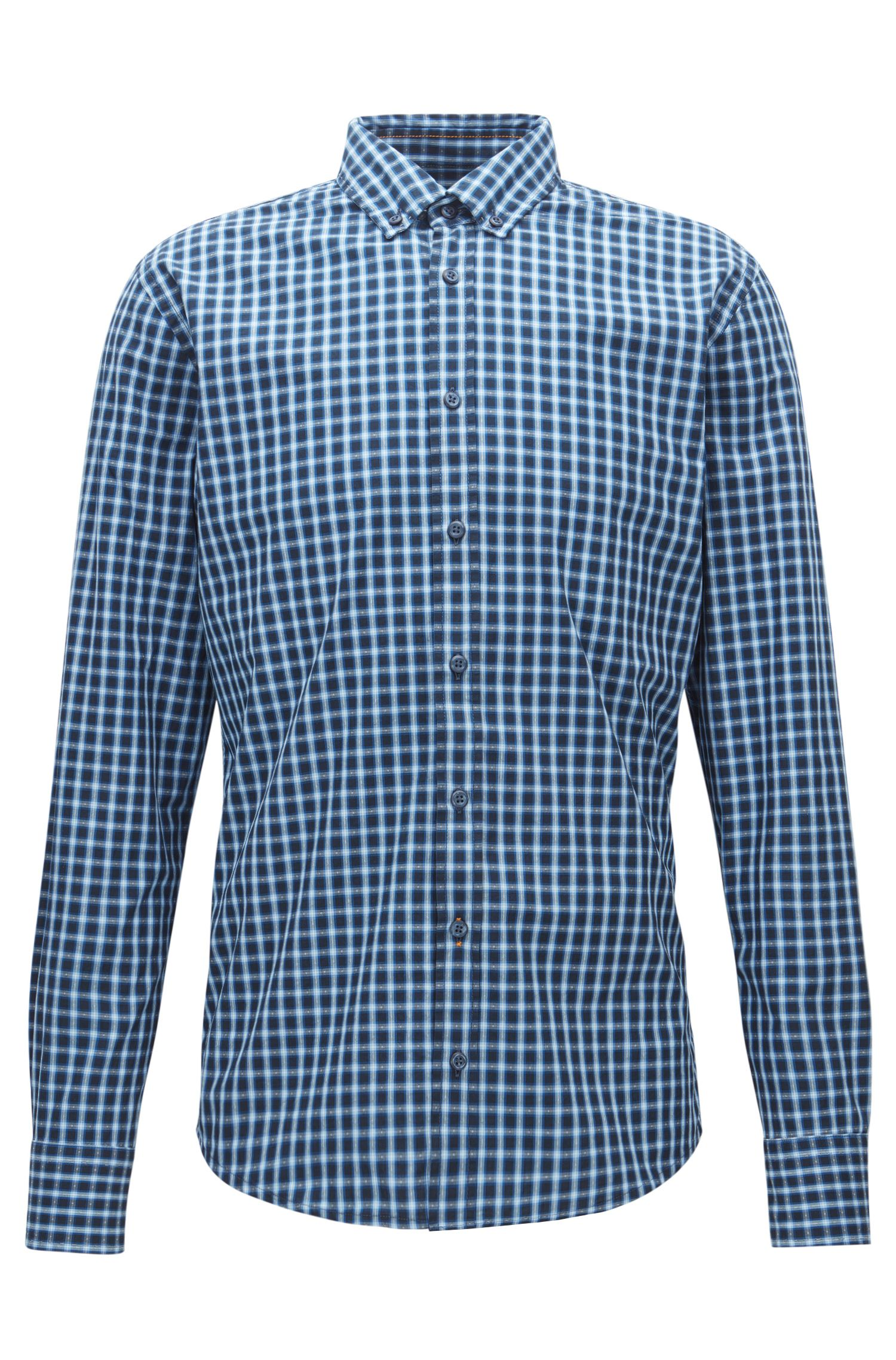 Slim-fit checked shirt in end-on-end cotton