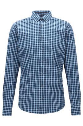 Camicia a quadri slim fit in cotone fil-à-fil, Blu