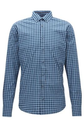 Slim-fit overhemd van geruite fil-à-fil-katoen, Blauw
