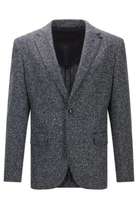 Regular-fit jacket in a wool blend, Dark Blue