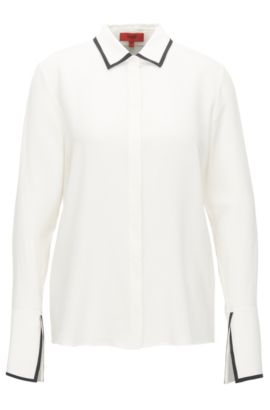 Camicia relaxed fit in pura seta, Naturale