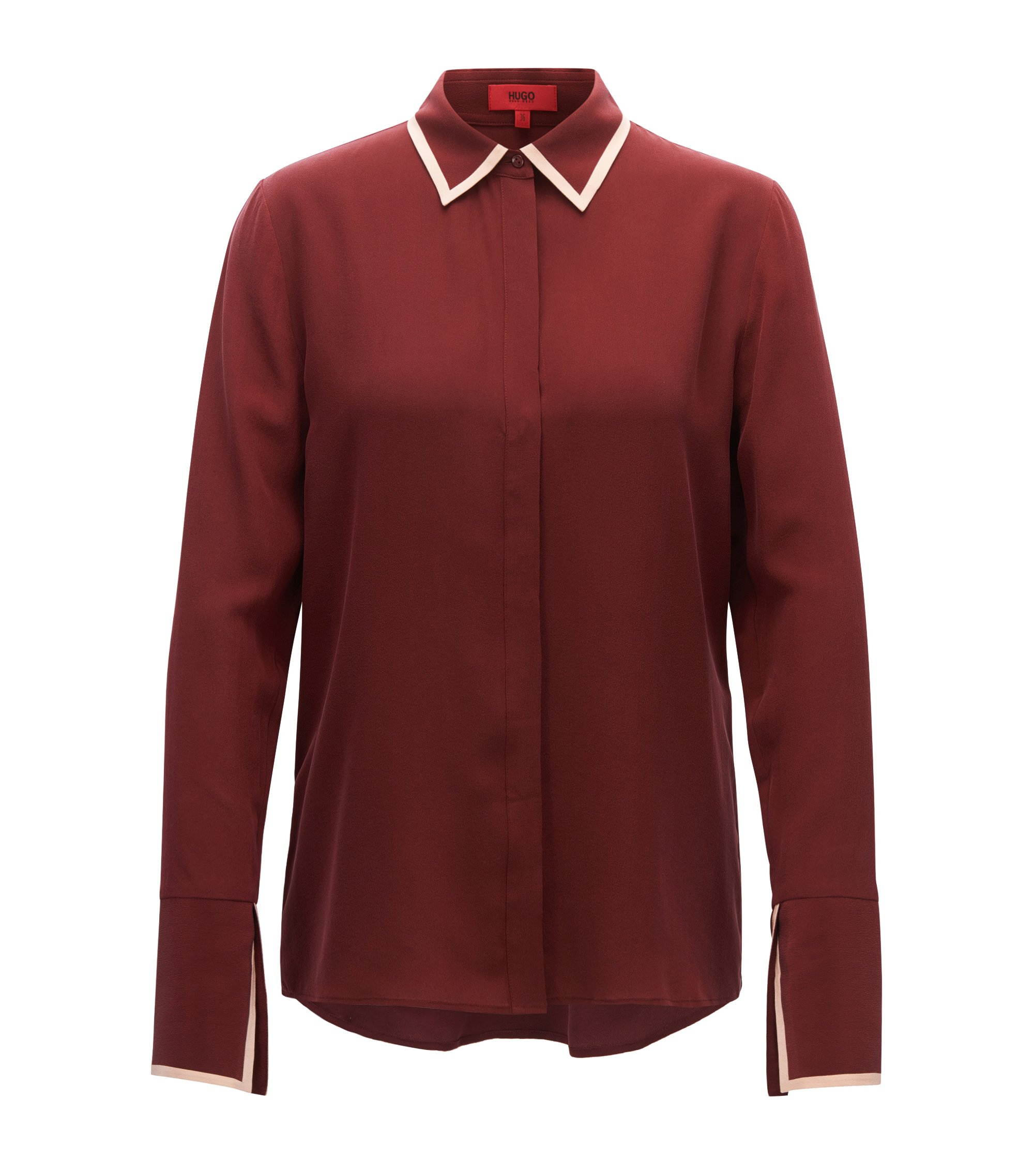 Relaxed-fit shirt in pure silk, Dark Red