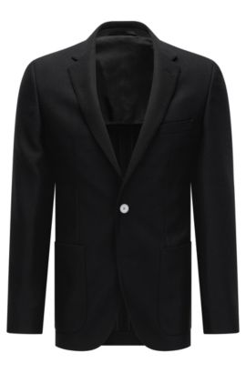 Regular-fit jacket in textured virgin wool, Black
