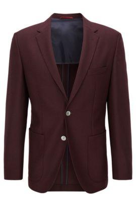Regular-fit jacket in textured virgin wool, Dark Red