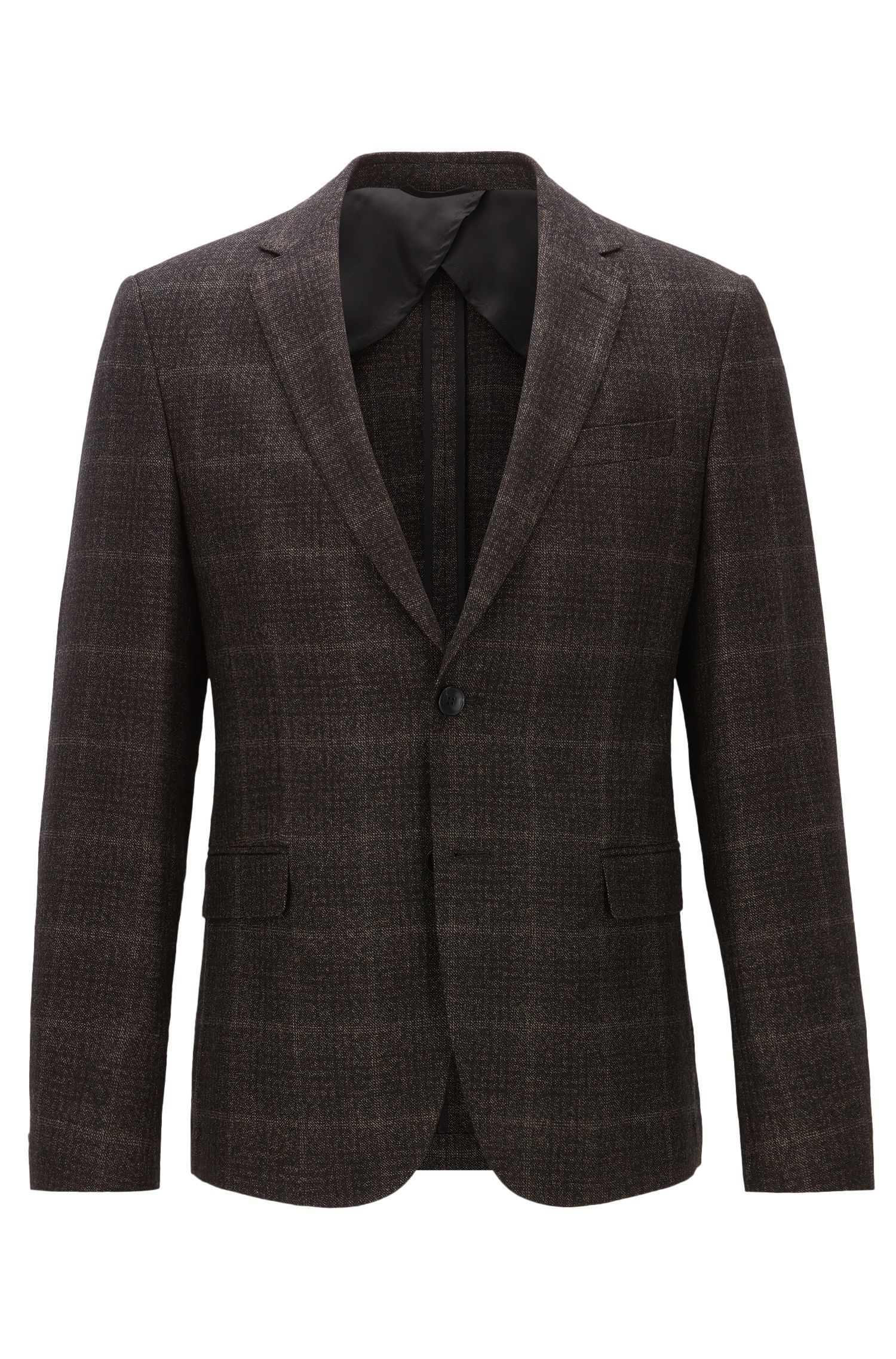 Slim-fit checked jacket in a heavyweight wool blend