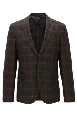 Slim-fit checked jacket in a heavyweight wool blend, Dark Brown