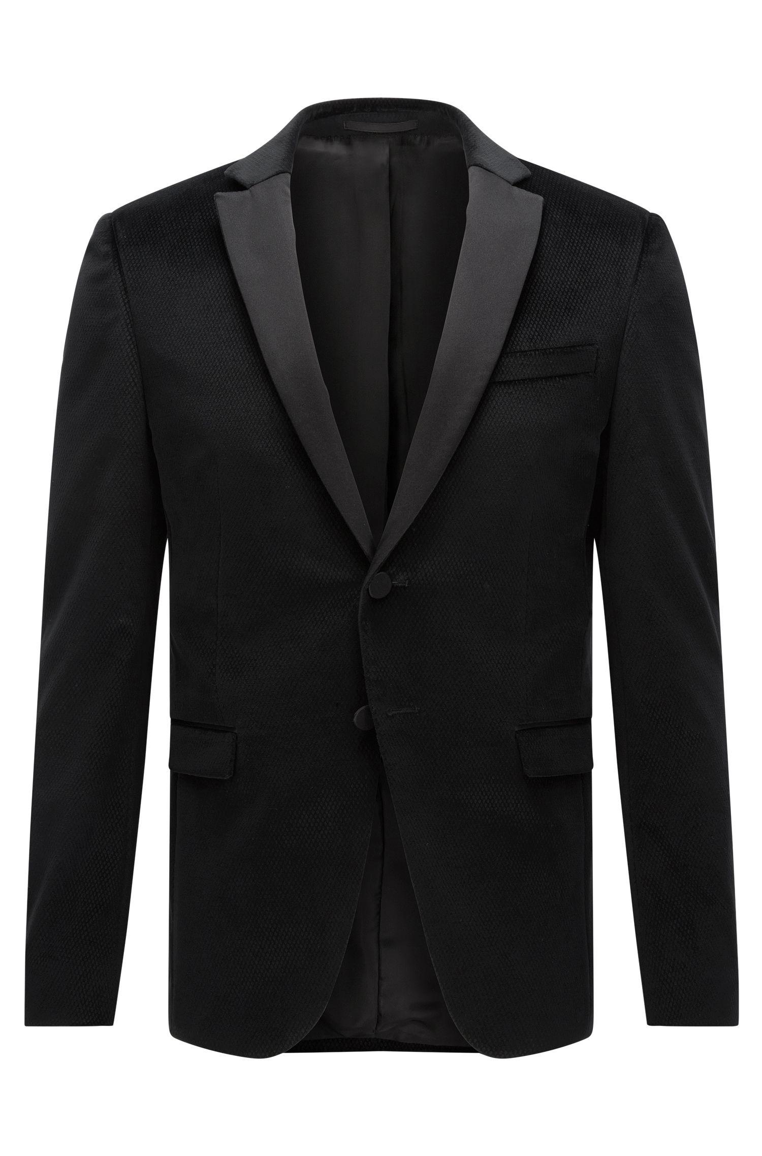 Extra-slim-fit jacket in printed velvet