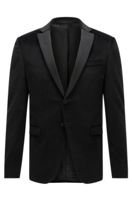Giacca extra slim fit in velluto stampato, Nero