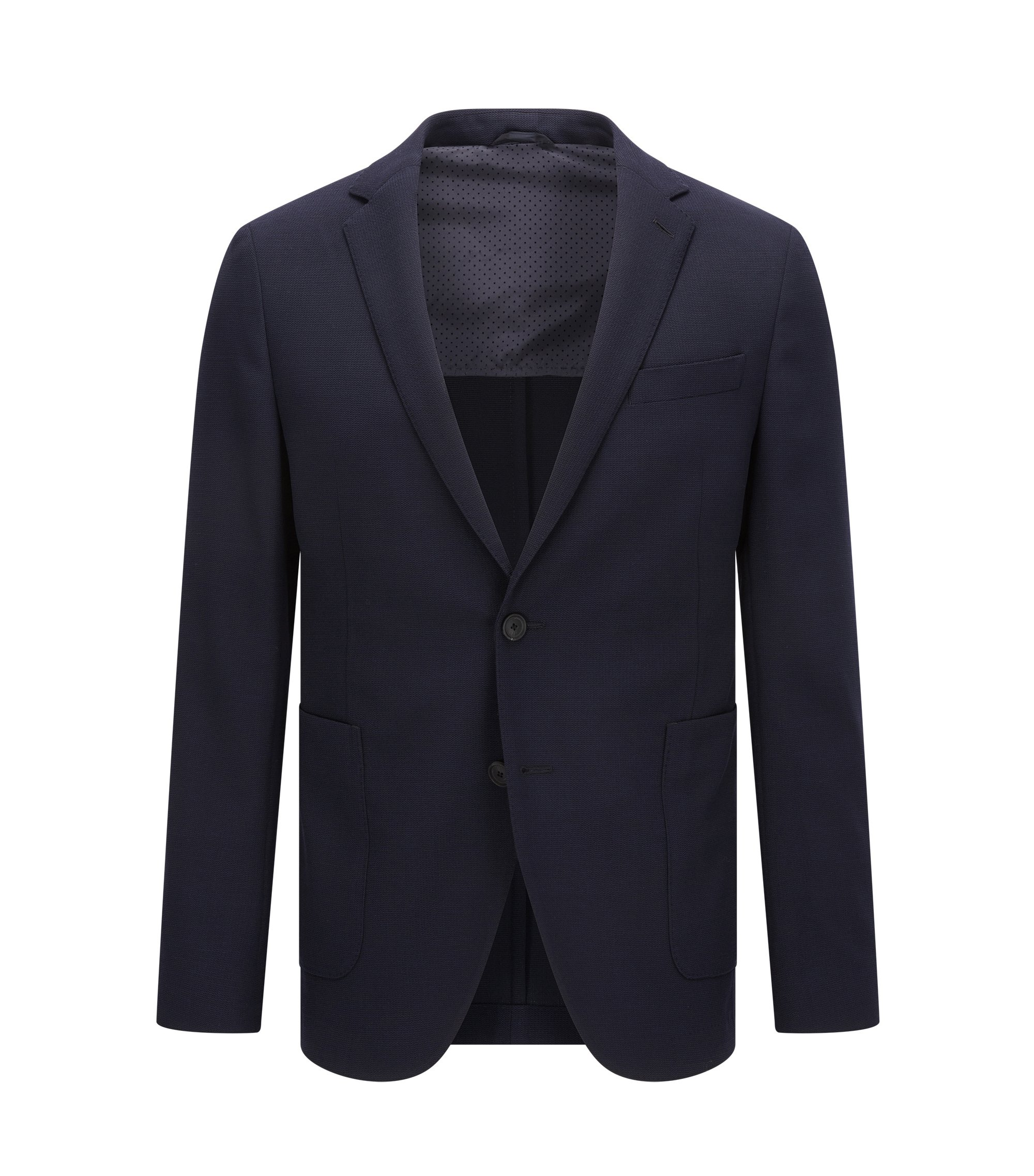 Slim-fit travel jacket in a wool blend, Dark Blue
