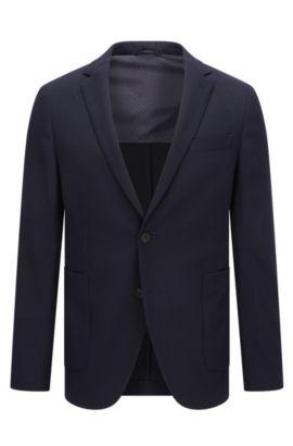 Giacca da viaggio slim fit in misto lana, Blu scuro