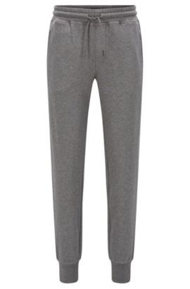 Regular-fit trousers in cotton terry, Gris