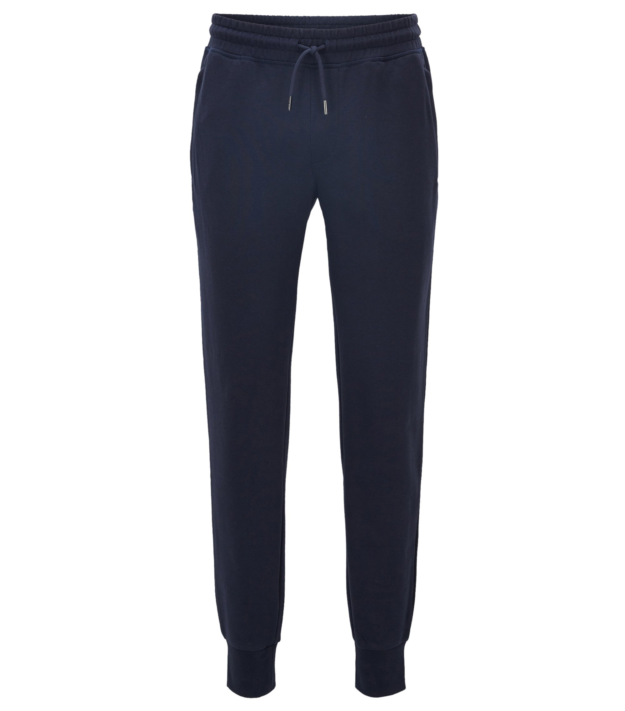 Pantaloni regular fit in cotone terry, Blu scuro