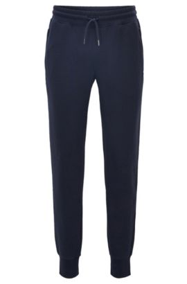 Pantalon Regular Fit en molleton Terry de coton, Bleu foncé