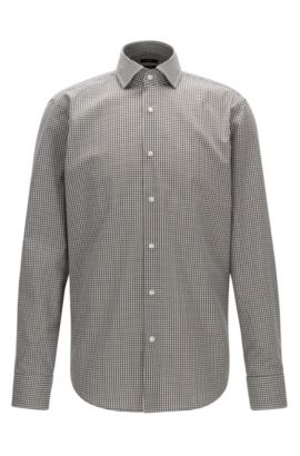 Vichy check easy-iron cotton shirt in a regular-fit, Grey