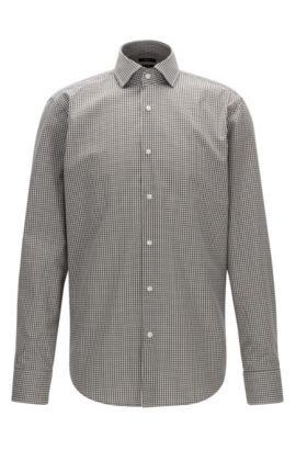 Gemakkelijk te strijken, regular-fit overhemd van katoen met vichyruiten, Grijs