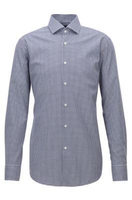 Camisa regular fit en algodón de planchado fácil con cuadros Vichy, Azul oscuro