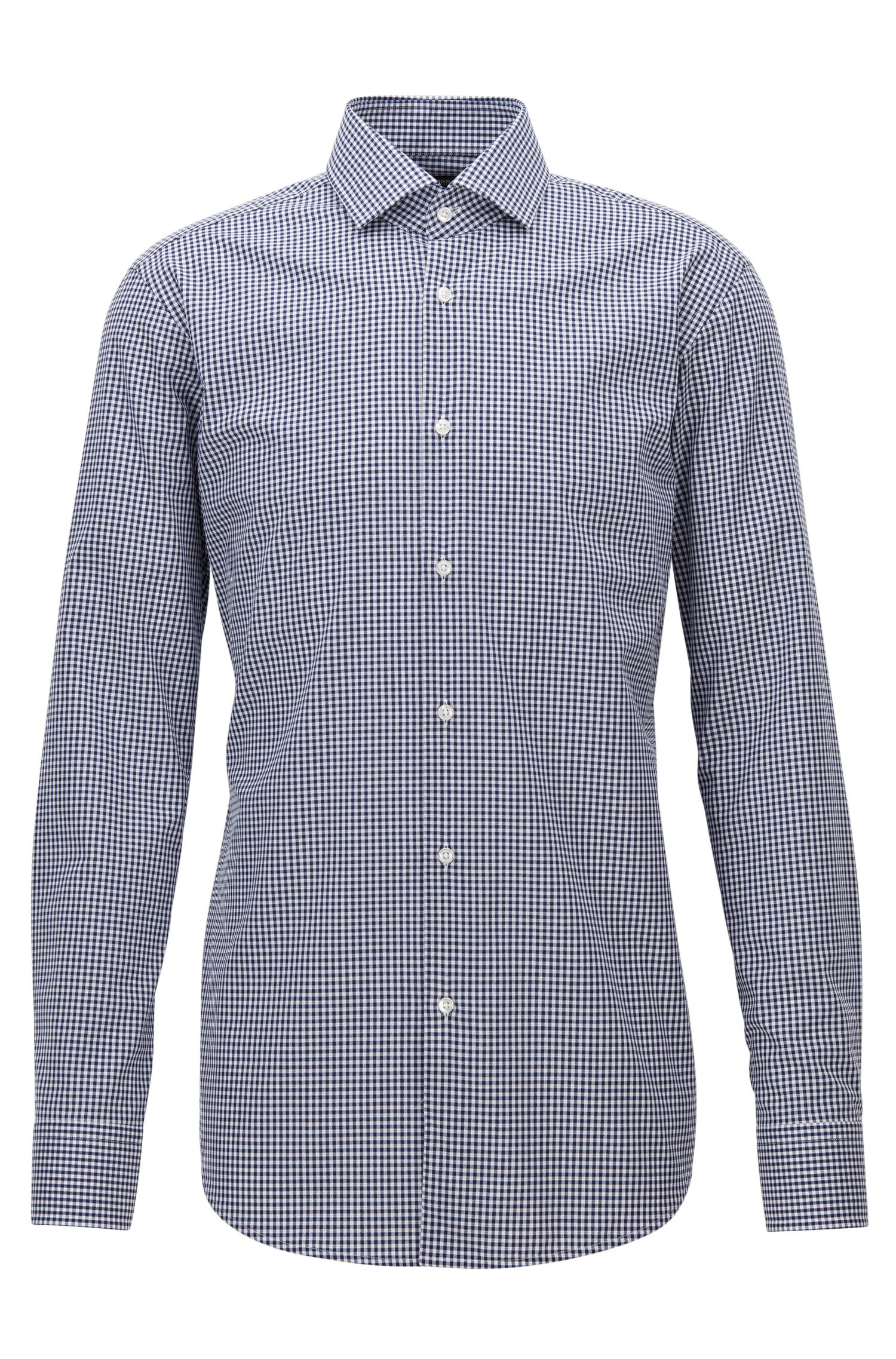 Regular-Fit-Hemd aus bügelleichter Baumwolle mit Vichy-Karo