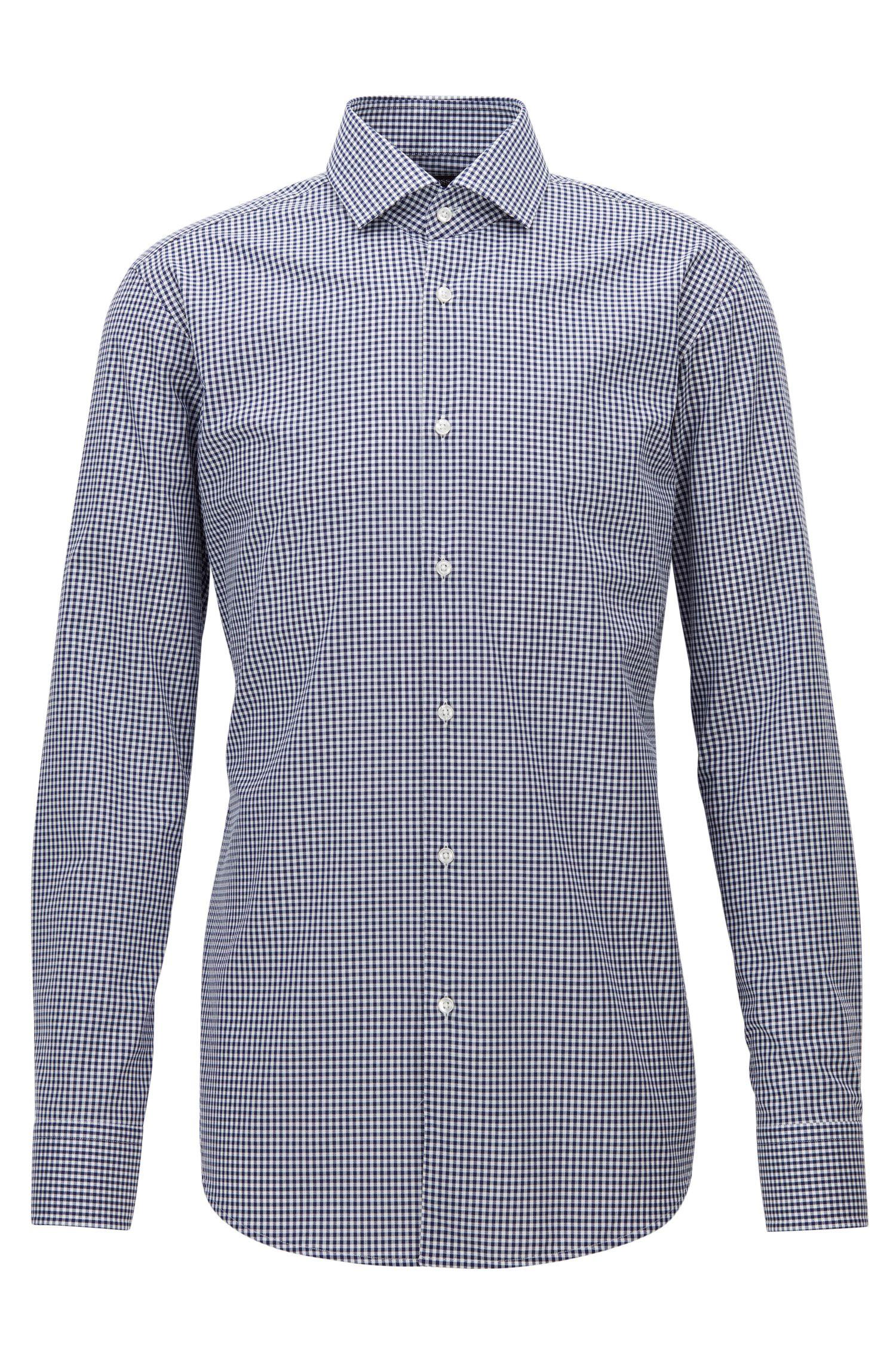 Camisa regular fit en algodón de planchado fácil con cuadros Vichy