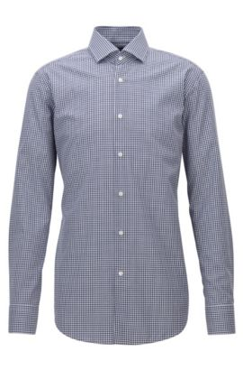Vichy check easy-iron cotton shirt in a regular-fit, Dark Blue