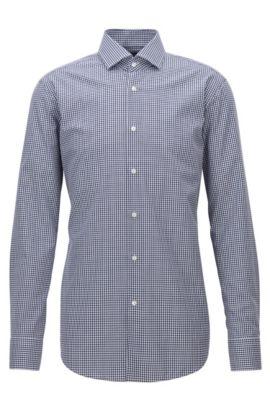 Regular-Fit-Hemd aus bügelleichter Baumwolle mit Vichy-Karo, Dunkelblau
