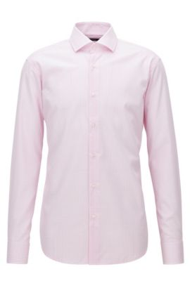 Vichy check easy-iron cotton shirt in a regular-fit, light pink