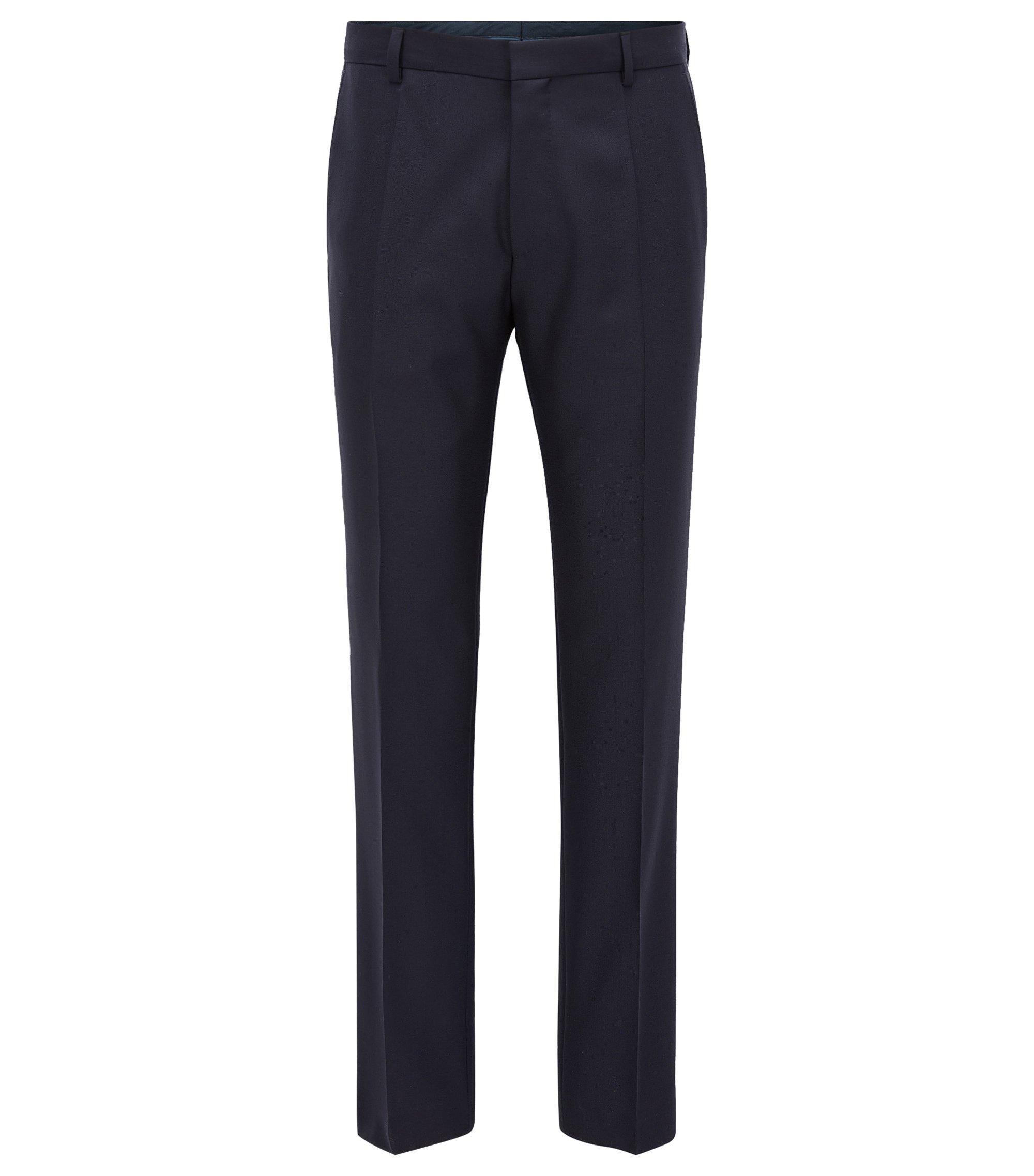 Pantaloni Travel Line slim fit in lana con dettagli innovativi, Blu scuro