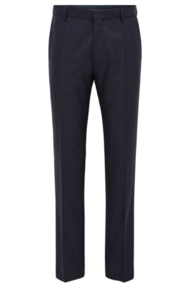 Travel Line slim-fit wool trousers with innovative details, Dark Blue