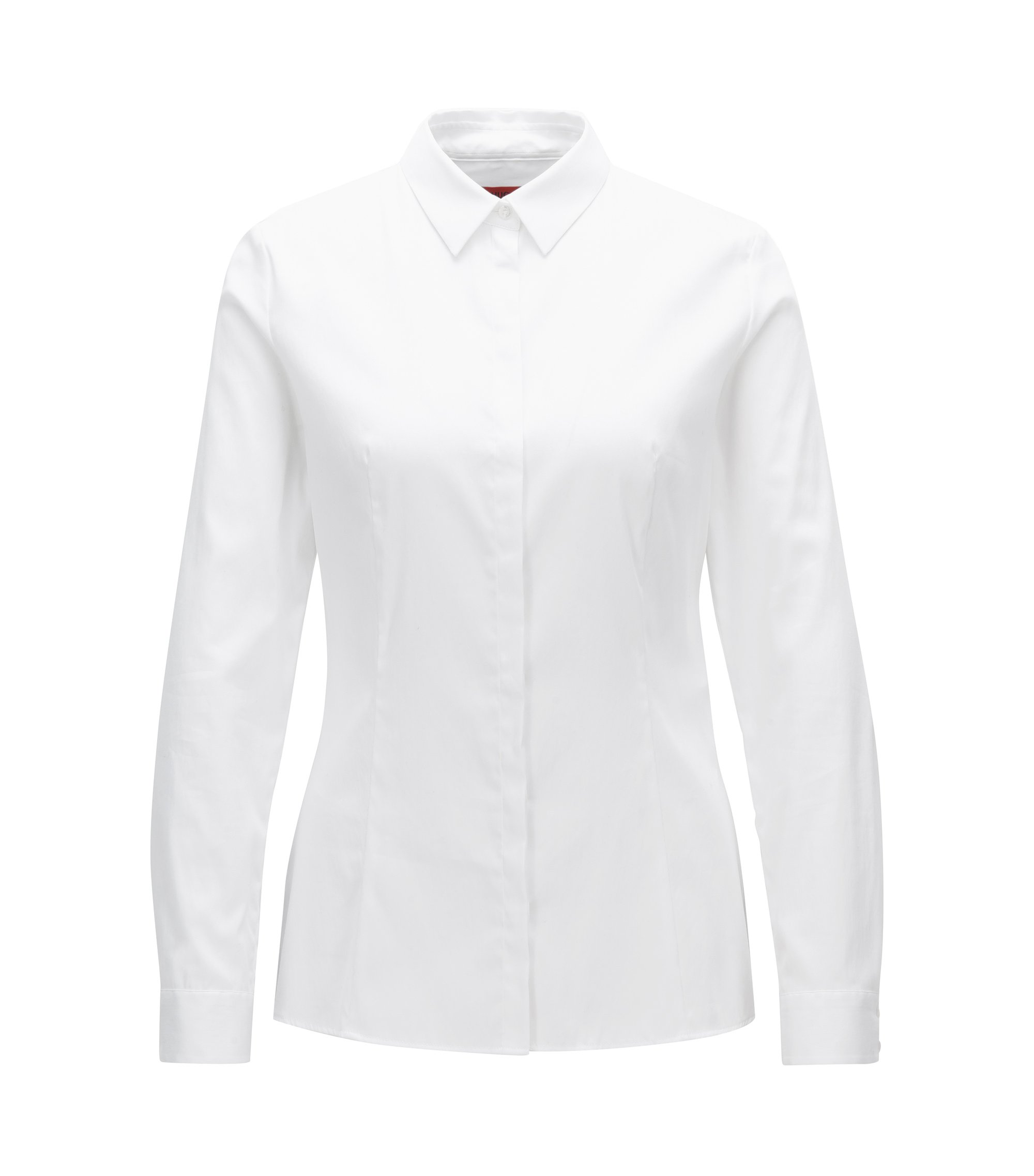 Slim-fit shirt in a strech cotton blend, White
