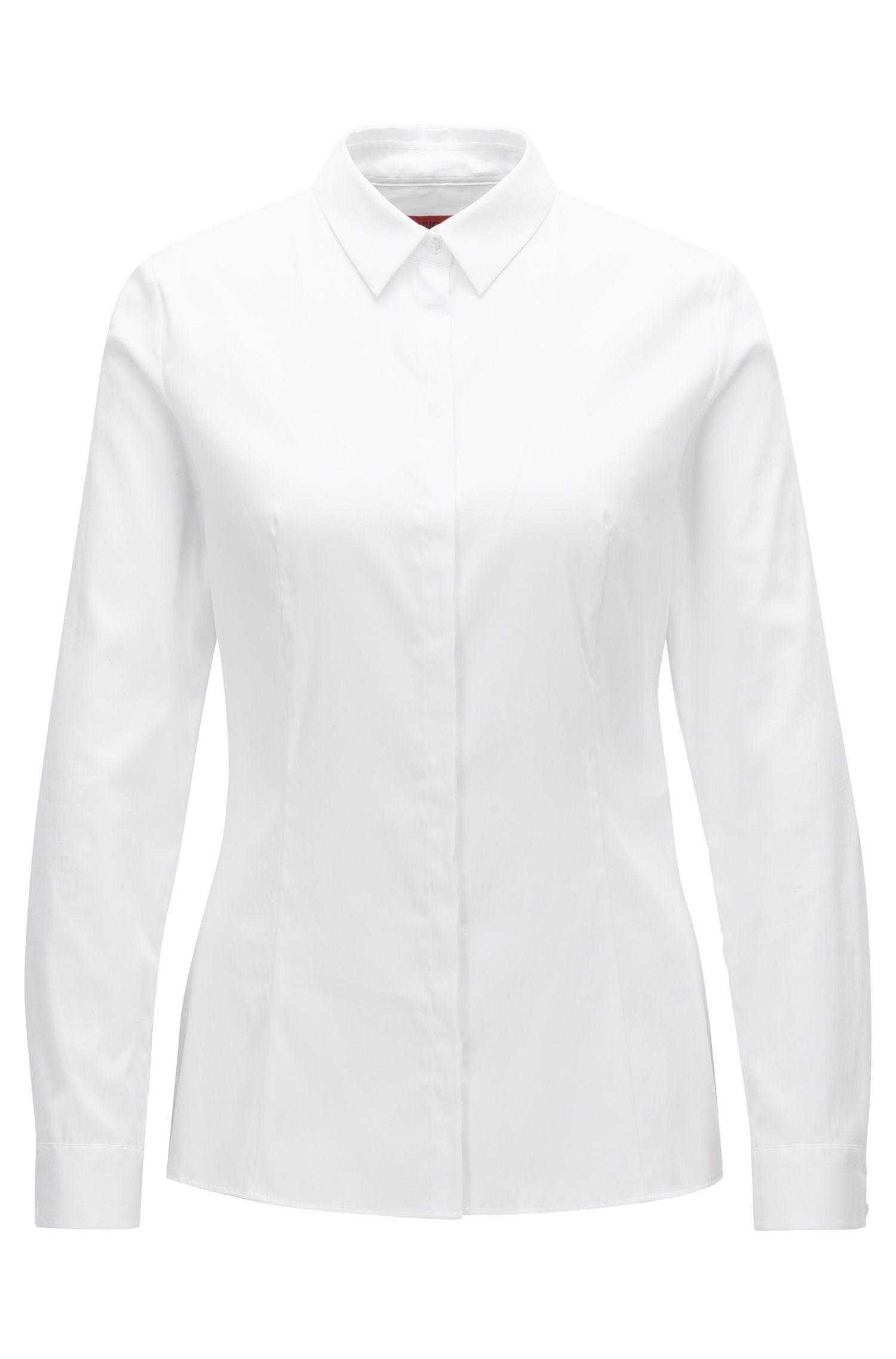 Slim-Fit Hemdbluse aus elastischem Baumwoll-Mix