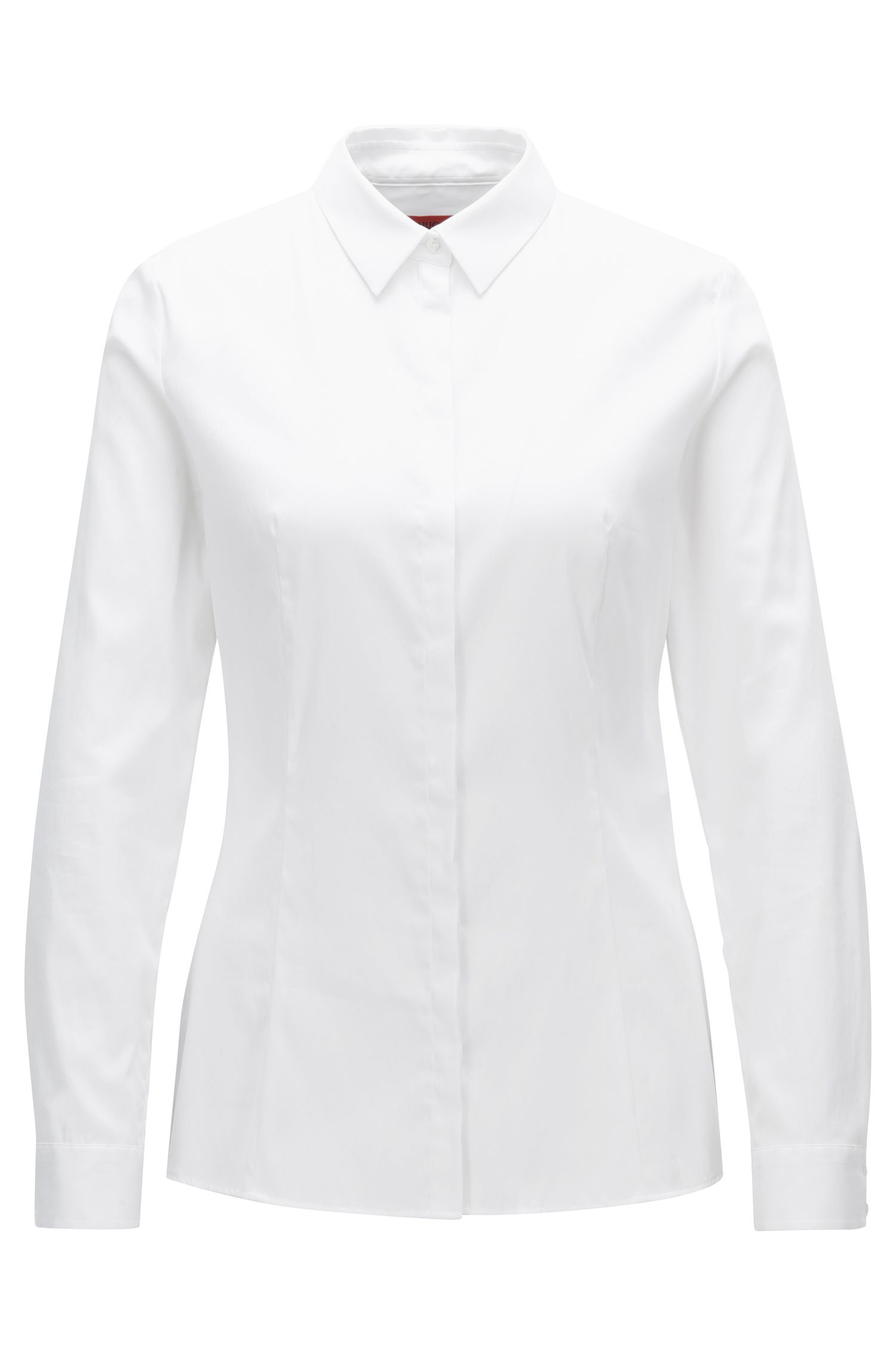 Slim-fit shirt in a strech cotton blend